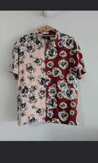 OBSCR Satin Floral Blouse