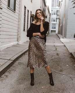 Brand new Leopard Print Satin midi Skirt BLOGGER FAV - sizes Small and medium