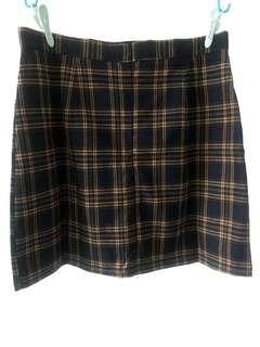 清貨價! 全新 藍底黃格 格仔高腰半截裙 加大碼 size XL