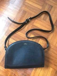 A.P.C Half Moon Crossbody Bag in Black