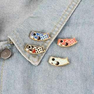 Cute Japanese Koi Carp Streamer Enamel Pin/Brooch