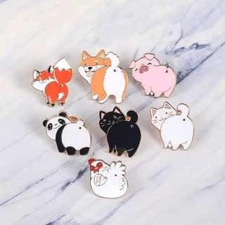 🚚 Cute Animal Butt View Enamel Pin/Brooch