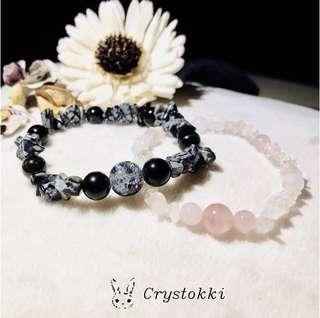 Handmade Couple Crystal Bracelet (Snowflake obsidian And Rose Quartz with Milky Quartz)