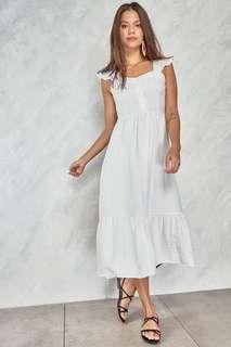 Shop Copper Lost In Time Tiered Ruffle Trim Dress White
