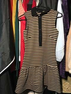 Yellow black striped collar dress