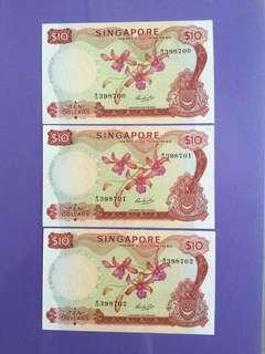 Singapore Orchid $10 x 3 Run UNC