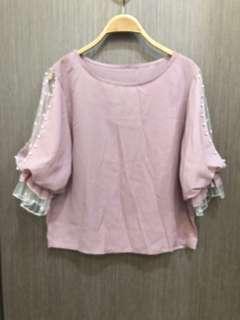 🚚 全新出清乾燥玫瑰粉珍珠網紗袖上衣