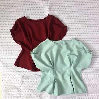 Peplum Tie- waist Top