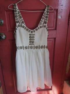 Topshop White Embellished Dress
