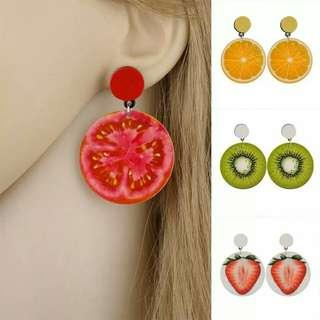 Korean Style Fruit Earrings Women Tomato Lemon Kiwi Acrylic Date Travel Jewelry Gift