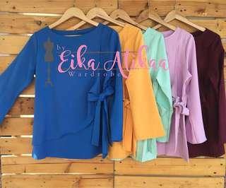 NEW BLUE Blouse top muslimah