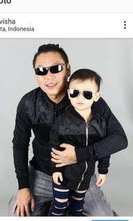 Jaket motor couple ayah dan anak