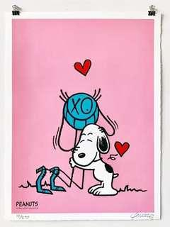 """Mr. A loves Snoopy"" by Andre Saraiva *Limited Print (Pink)"
