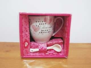 杯子湯匙套組 戀愛語錄 小瓷杯 杯子 小湯匙