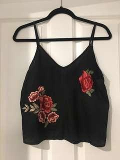 Embroidered rose tank - black