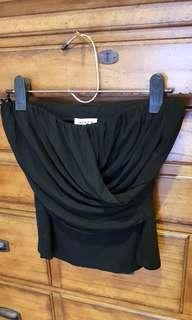BLACK BUSTIER WITH DRAPES  BY COAT'S