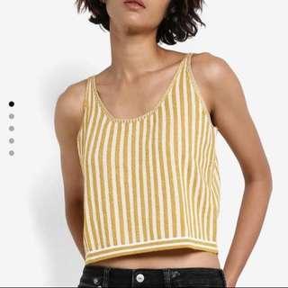 <SALE 25%> MANGO yellow strip top