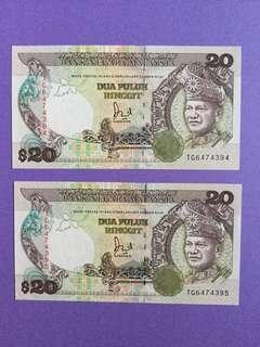 🚚 Malaysia RM20 x 2 Run UNC