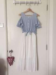 Korean-Style Cold Shoulder Blue & White Stripey Pleated Maxi Dress