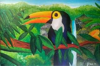 Canvas Painting: A Toucan