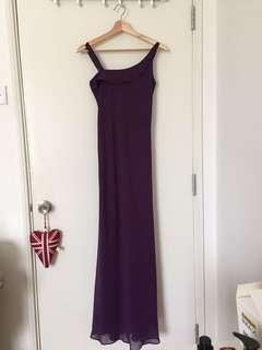 Dark Purple Evening Maxi Gown/ Dress