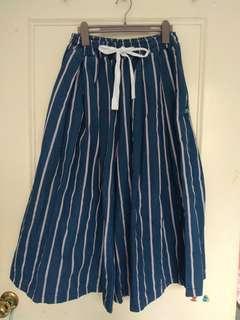 含運絕版轉賣 planet行星自訂款 紅白條紋配色厚磅挺版丹寧牛仔寬褲裙