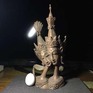 木雕 雕刻 佛像 雙面菩薩