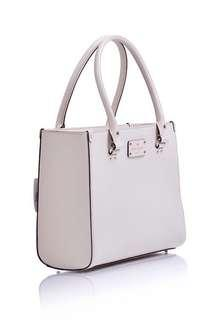 KATE SPADE QUINN WELLESLEY LEATHER OFF WHITE TOTE BAG