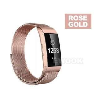 Fitbit charge 3 rose gold magnetic stainless steel strap band