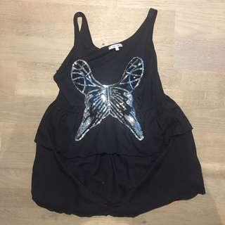 Size small black top with sequin butterfly