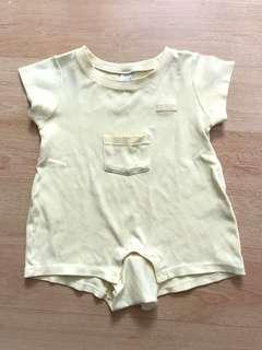 Enfant yellow romper size 70 with flaw tiny black stain