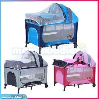 Mamakiddies Portable Infant Baby Cot Playpen Travel Bed Side Slide Door