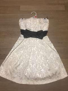 Size 8 white formal dress with black bow tie up