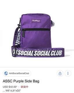 ASSC side bag Purple 80%new 紫色 斜咩袋 shoulder bag supreme 潮流