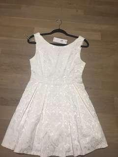 Size 10 brand new formal white dress above knee length