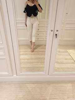 Classic 7/8 white pants with black list