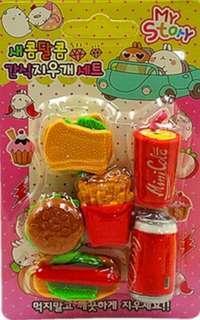🚚 Fast Food Eraser Set