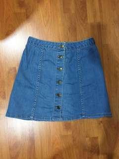 Denim Skirt with Buttons (Medium Blue)