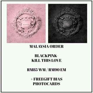#BLACKPINK - KILL THIS LOVE-PREORDER/NORMAL ORDER/GROUP ORDER/GO + FREE GIFT BIAS PHOTOCARDS (1 ALBUM GET 1 SET PC, 1 SET HAS 9 PC)