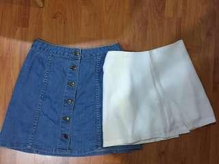 Skirt Bundle - Denim Skirt & White Mini Skirt / Skort