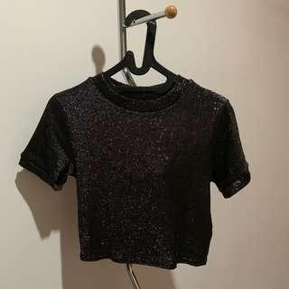 Topshop Sequin Top Hitam
