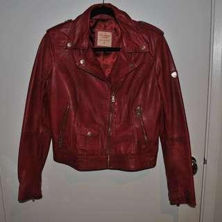 Ted Baker - Genuine soft red leather, biker jacket with satin lining & gold detail