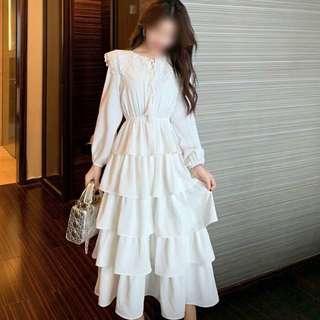 韓 蕾絲領 收腰 顯瘦 千層 蛋糕 連身裙 洋裝 黑 白 兩色 預購