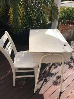 shabby chic vintage desk and chair