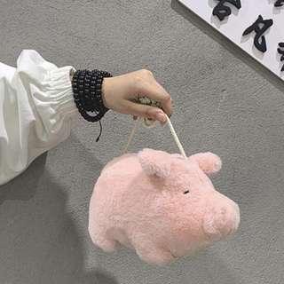 Crossbody pig bag fluffy fuzzy