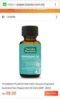 Thursday plantation peppermint oil genuine from Australia new..
