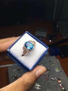 Natural Blue Topaz ring for unisex