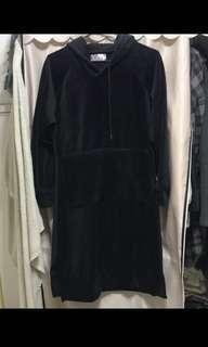 🚚 厚實絨布連帽超長版側開衩洋裝連衣裙