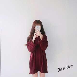 🚚 (轉售)DIFF 秋冬韓版 v領寬鬆 中長版毛衣 連身裙 針織裙 酒紅色