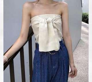 韓國針織蝴蝶結抹胸上衣